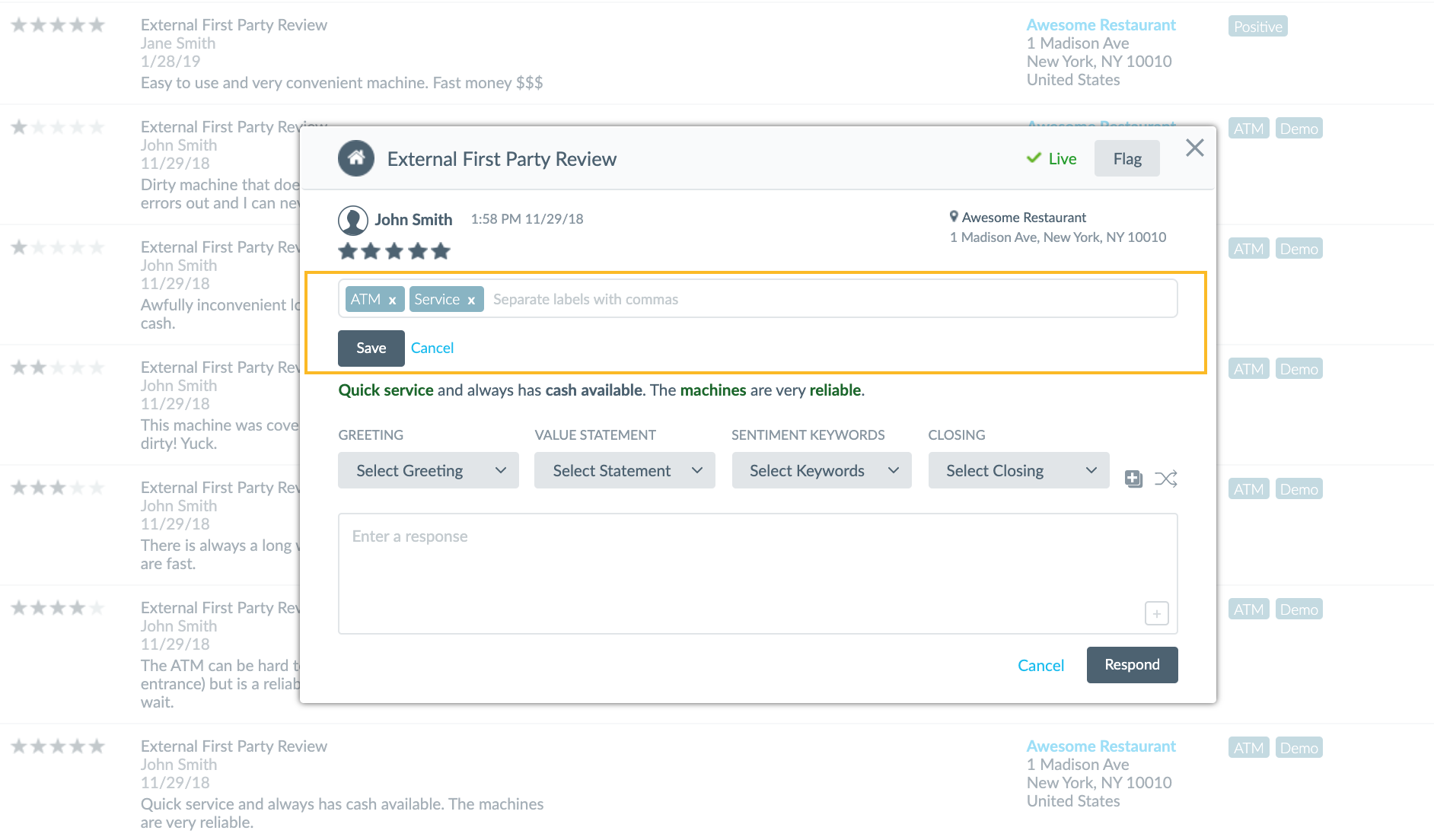 add an individual review label