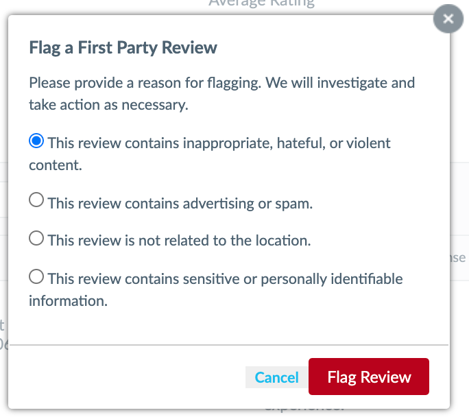 modal to flag a review